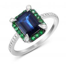 Каблучка з діамантами, сапфірами та смарагдами
