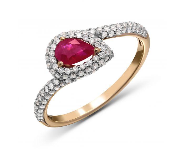 Каблучка Веста з діамантами та рубіном в рожевому золоті