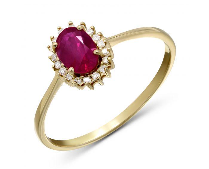 Каблучка Офелія з діамантами та рубіном в жовтому золоті