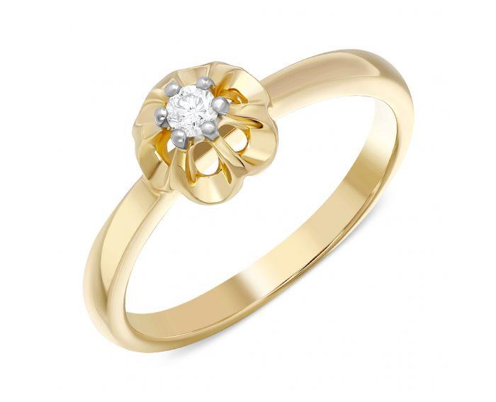 Каблучка з діамантом квіточка в жовтому золоті