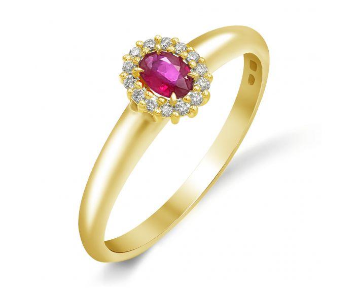 Каблучка з жовтого золота з діамантами та рубіном ZARINA