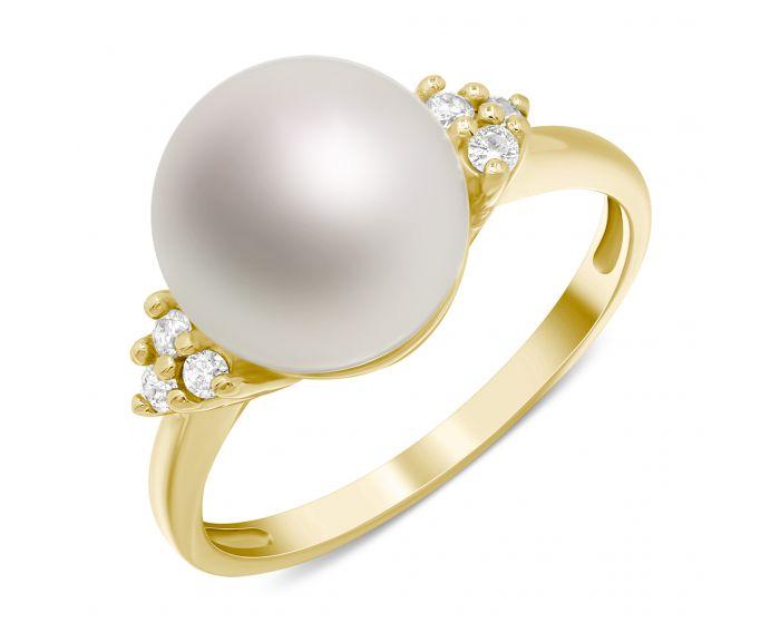 Каблучка з перлиною та діамантами в жовтому золоті