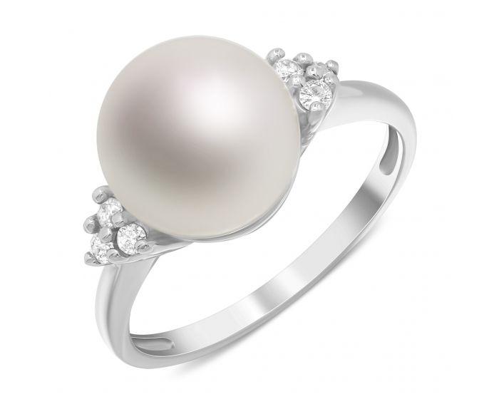 Каблучка з перлиною та діамантами в білому золоті