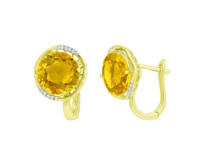 Сережки з цитринами та діамантами у жовтому золоті
