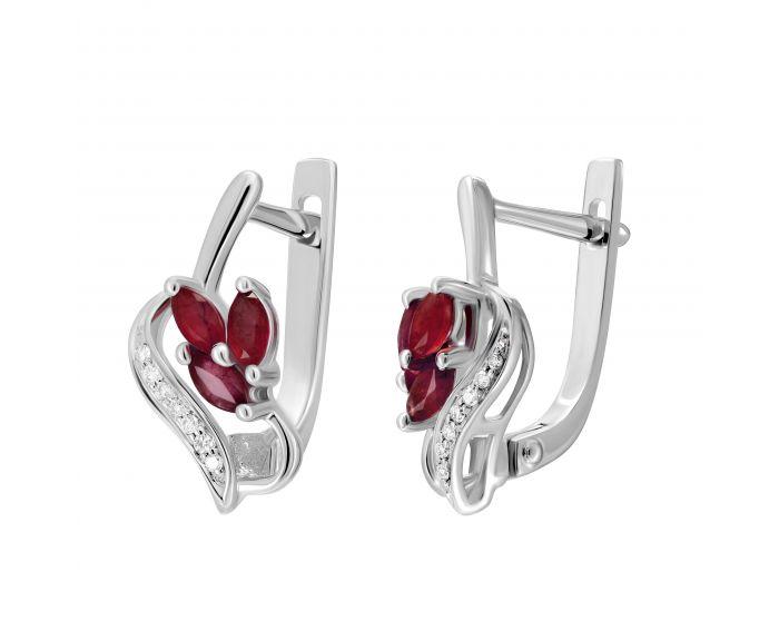 Сережки з діамантами та рубінами Пролісок