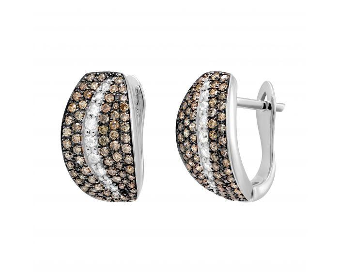 Сережки з діамантами у білому золоті Гертруда