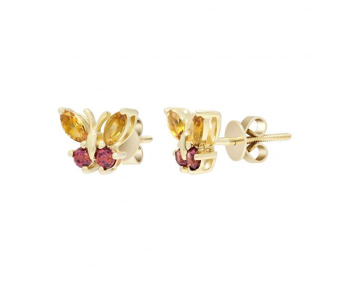 Сережки метелики з цитрином