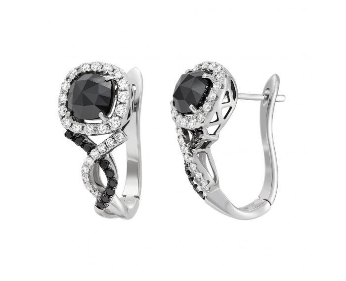 Сережки з чорними діамантами Чарівна ніч