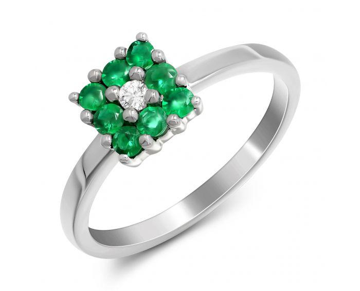 Каблучка чарівність з смарагдами та діамантом в білому золоті