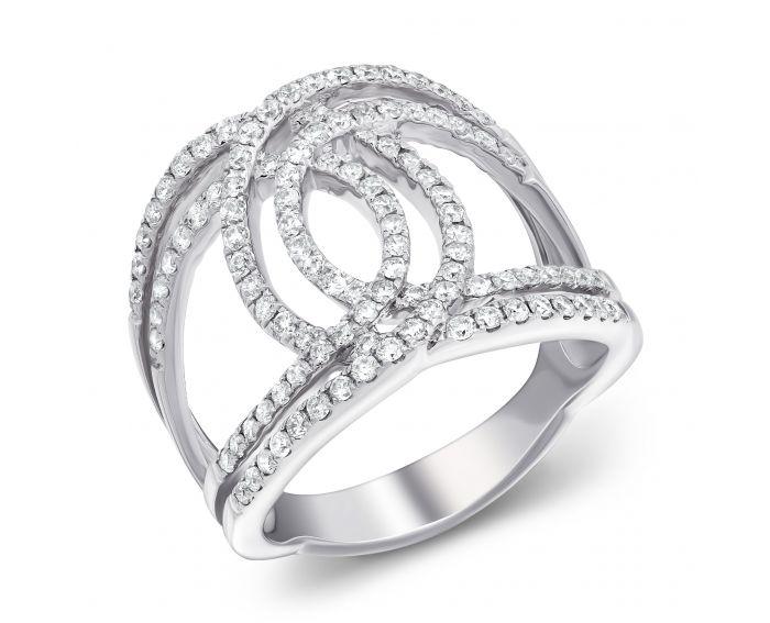 Каблучка Ажур у білому золоті з діамантами