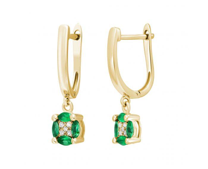 Сережки з смарагдами та діамантами Сузір'я жовте золото