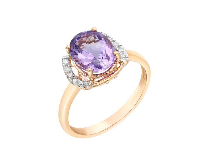 Каблучка з рожевого золота з діамантами та аметистом