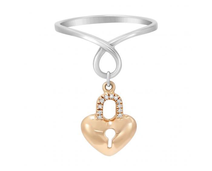 Каблучка Серце в білому та рожевому золоті з діамантами