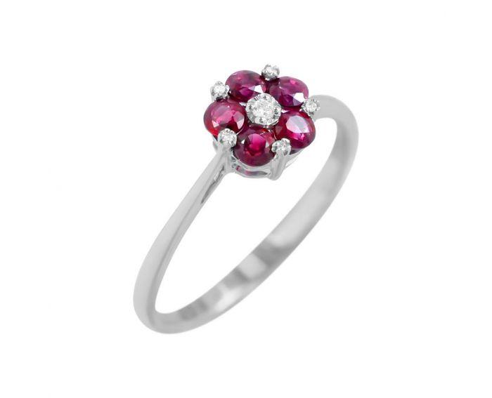 Каблучка Рубінова квітка з діамантами