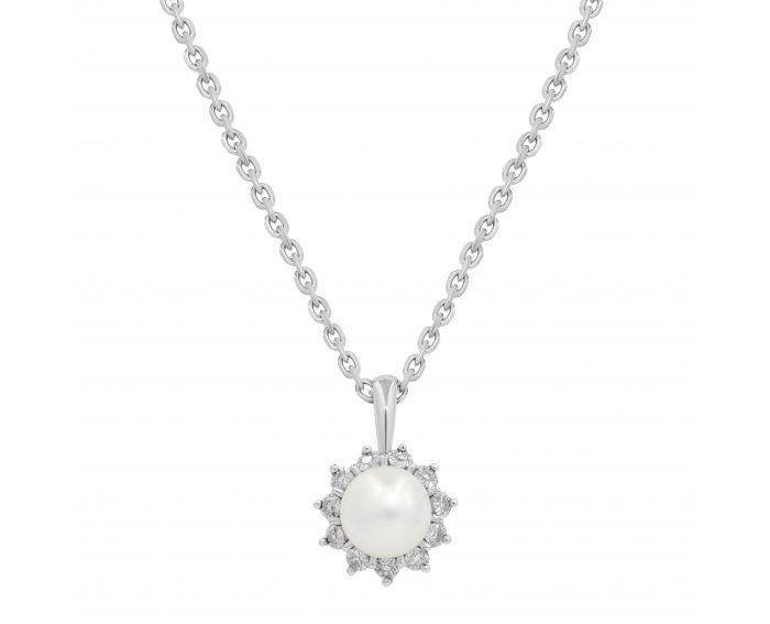 Підвіс з перлиною та діамантами Сніжинка