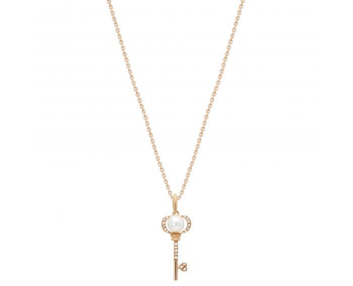 Кольє Ключик з діамантами та перлинкою