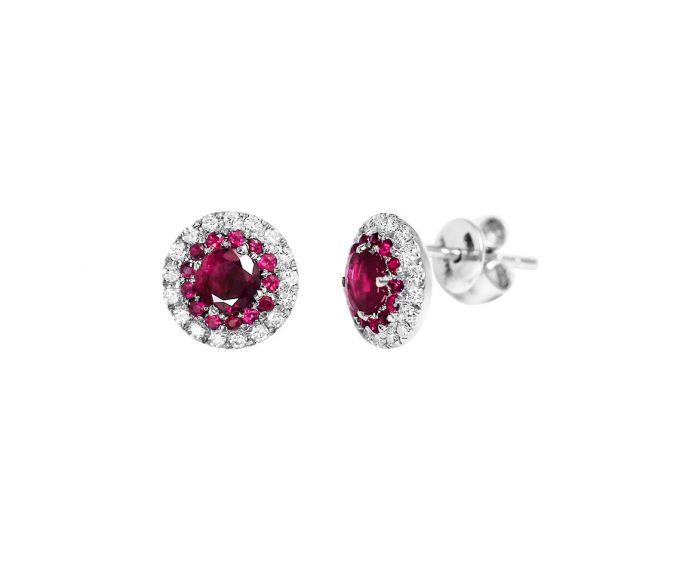Сережки з рубінами та діамантами