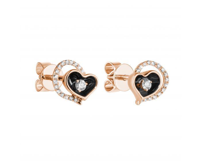 Сережки з рожевого золота з діамантами та чорним родієм Серце