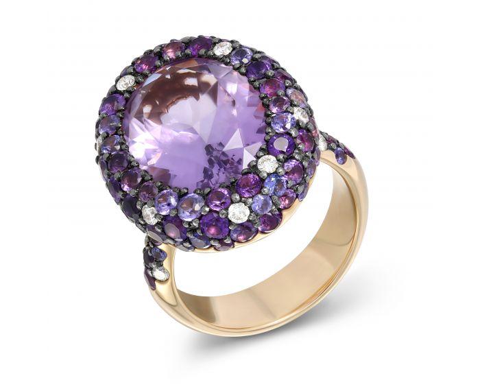 Каблучка з рожевого золота з аметистом та діамантами