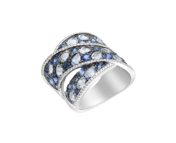 Кольцо из белого золота с бриллиантами и сапфирами ZARINA Ледяное кружево