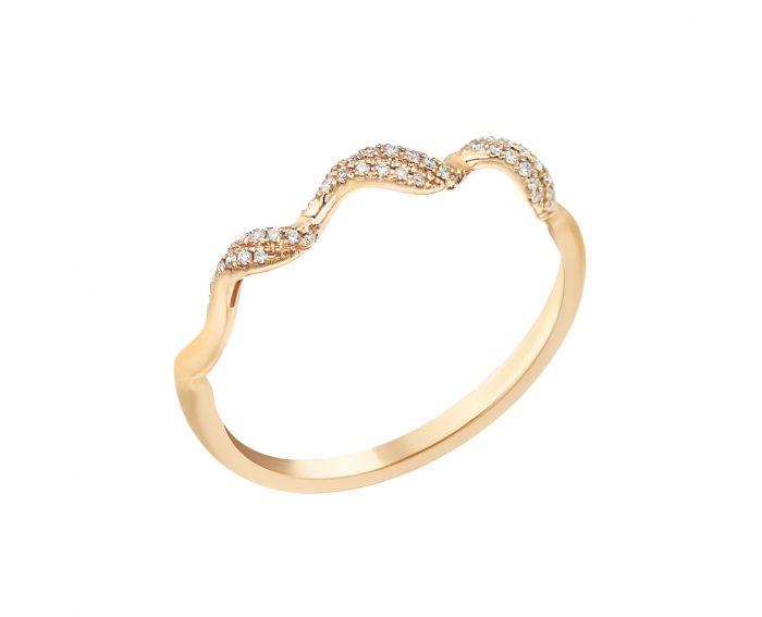 Каблучка з діамантами із рожевого золота Хвиля