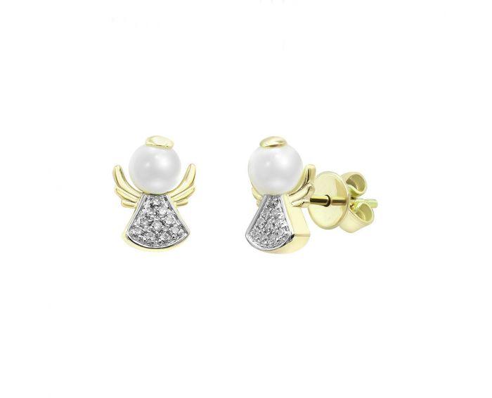 Серьги из желтого золота с бриллиантами и жемчугом