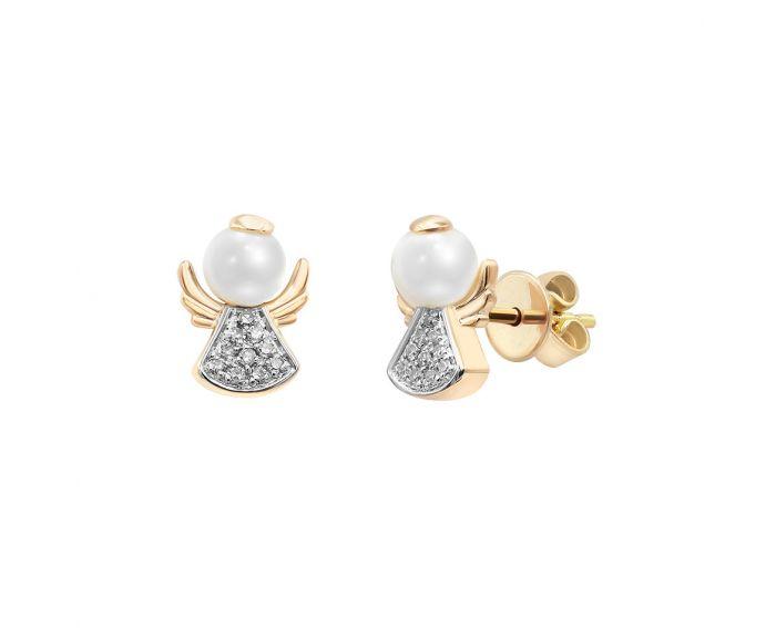 Серьги в розовом золоте с бриллиантами и жемчугом