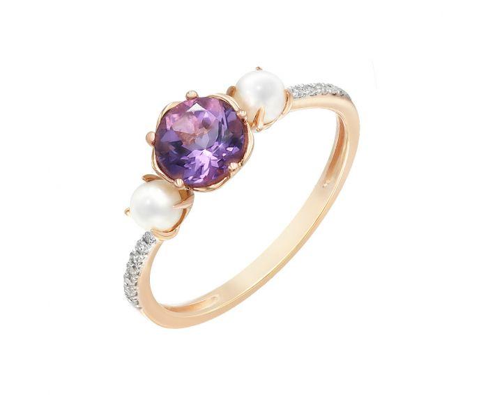 Каблучка з рожевого золота з діамантами, аметистом та перлами