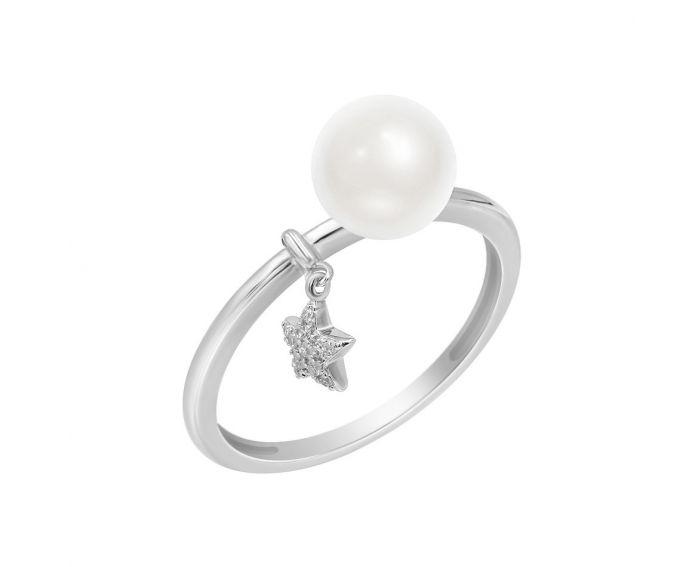 Каблучка з білого золота з діамантами та перлами