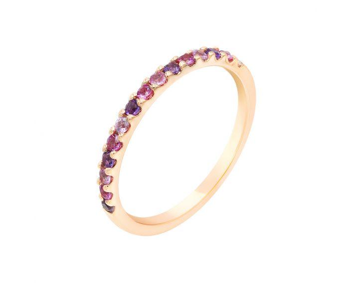 Каблучка з рожевого золота з діамантом, сапфірами та аметистами ZARINA