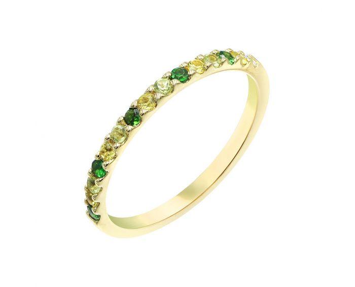 Каблучка з жовтого золота з діамантом, сапфірами, цаворитами та хризолітами ZARINA