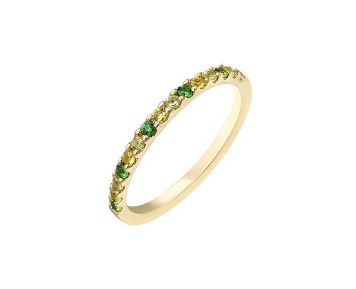 Каблучка з жовтого золота з діамантами, сапфірами, цаворитами та хризолітами ZARINA