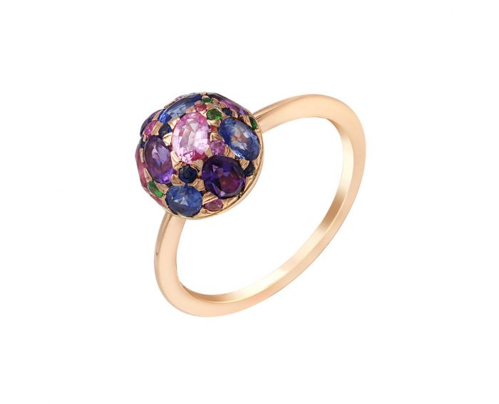 Каблучка з рожевого золота з діамантами, сапфірами та аметистами ZARINA