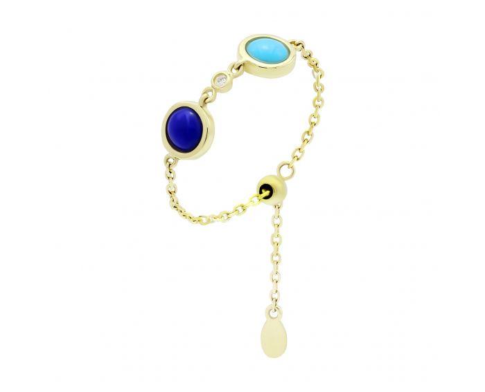 Каблучка з жовтого золота  діамантом, бірюзою і лазуритом