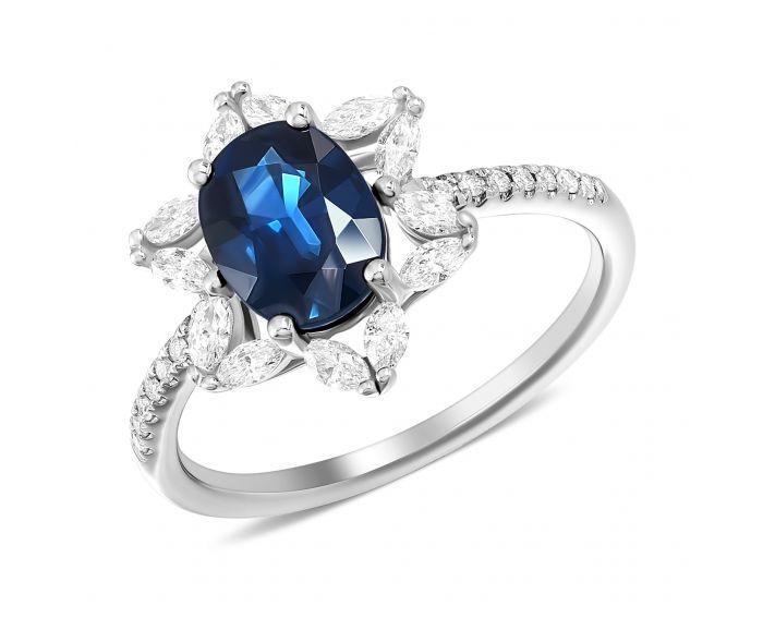 Каблучка з овальним сапфіром та діамантами