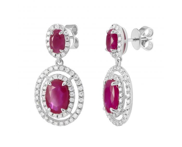Серьги с бриллиантами и овальными рубинами