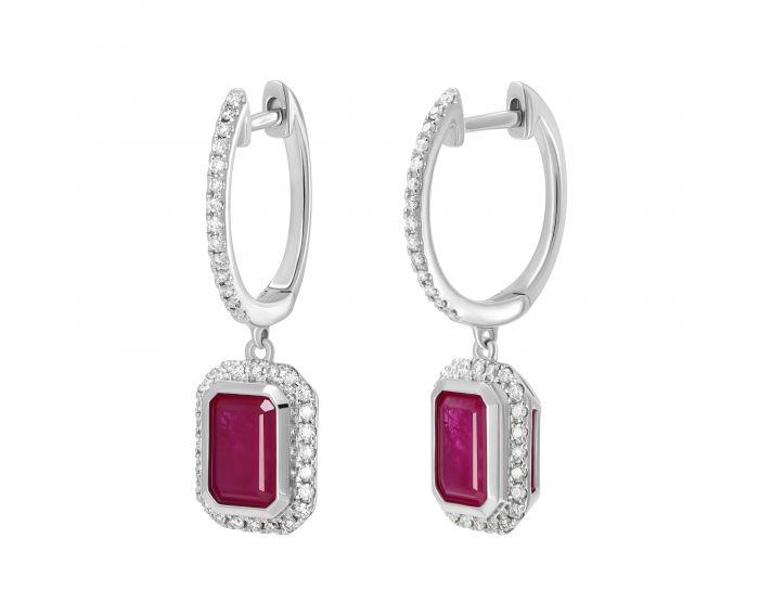 Сережки з діамантами та рубіном огранки октагон