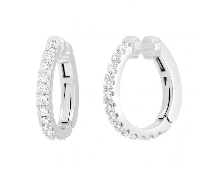 Сережки-кафи з діамантами у білому золоті