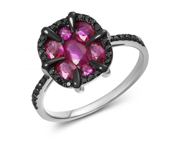 Каблучка з діамантами та рубінами Любов