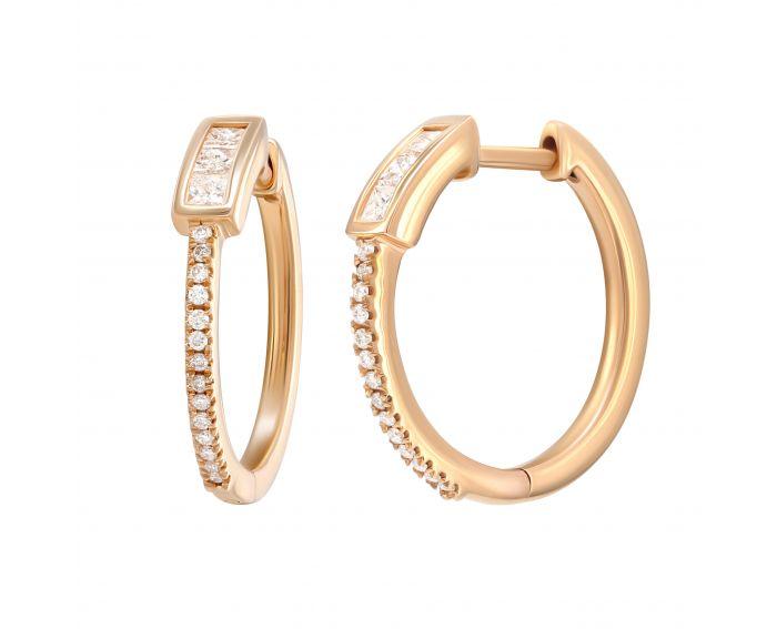Сережки з діамантами з рожевого золота