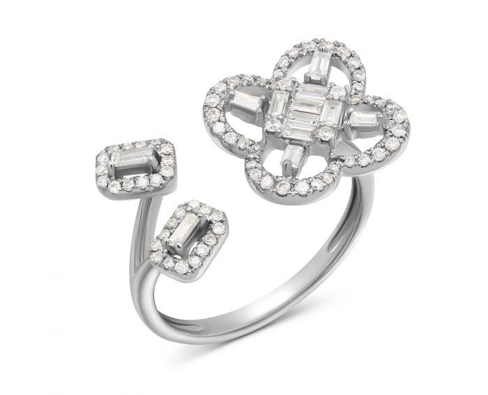 Каблучка Астра з діамантами в білому золоті