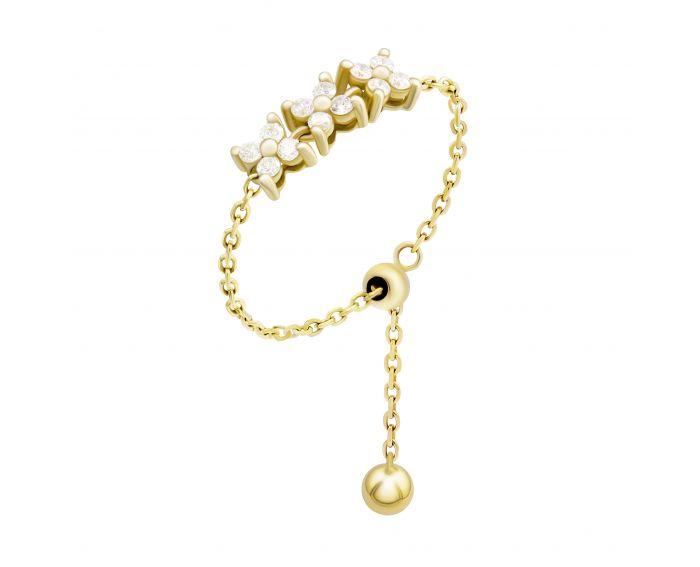 Каблучка з діамантами у жовтому золоті