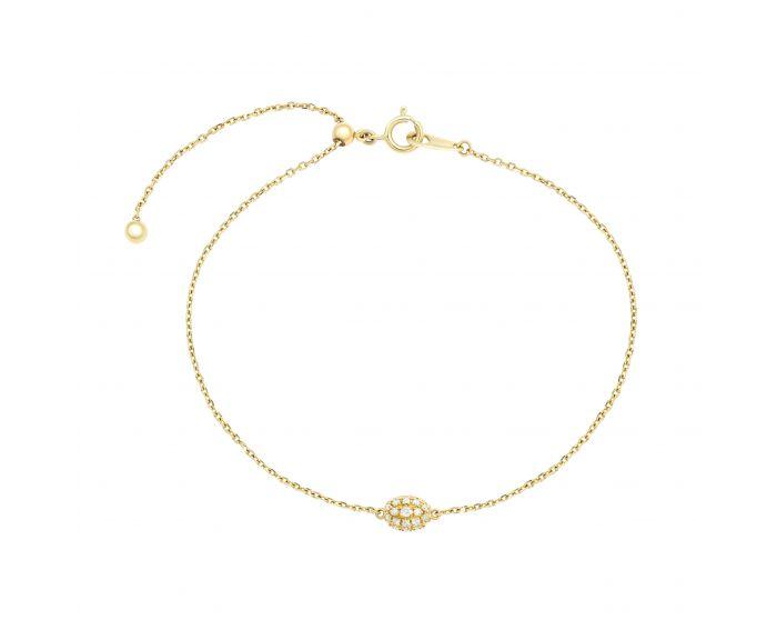 Браслет трансформер з діамантами у жовтому золоті Лія