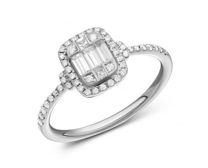 Каблучка Макарія з діамантами в білому золоті