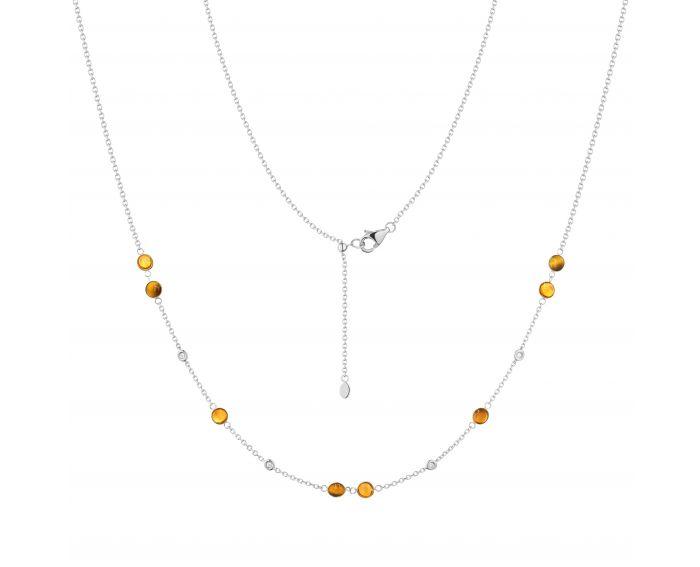 Кольє з діамантами, тигровим оком та цитринами у білому золоті