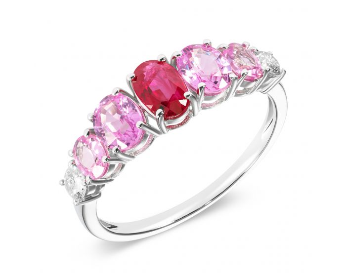Кольцо из белого золота с бриллиантами, рубинами и сапфирами ZARINA