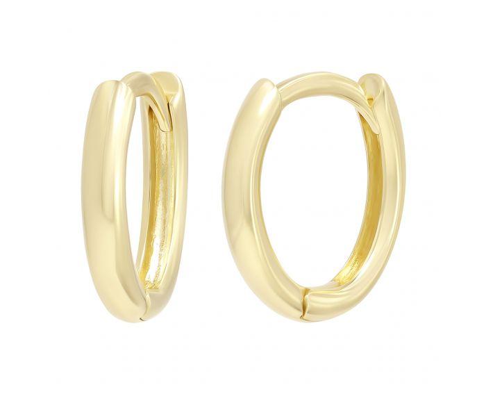 Сережки без вставок з жовтого золота