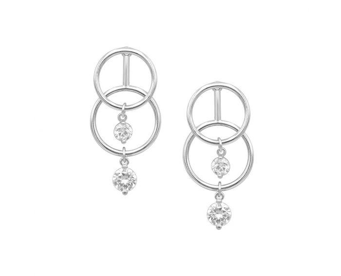 Сережки срібні з фіанітами ZARINA білий родій