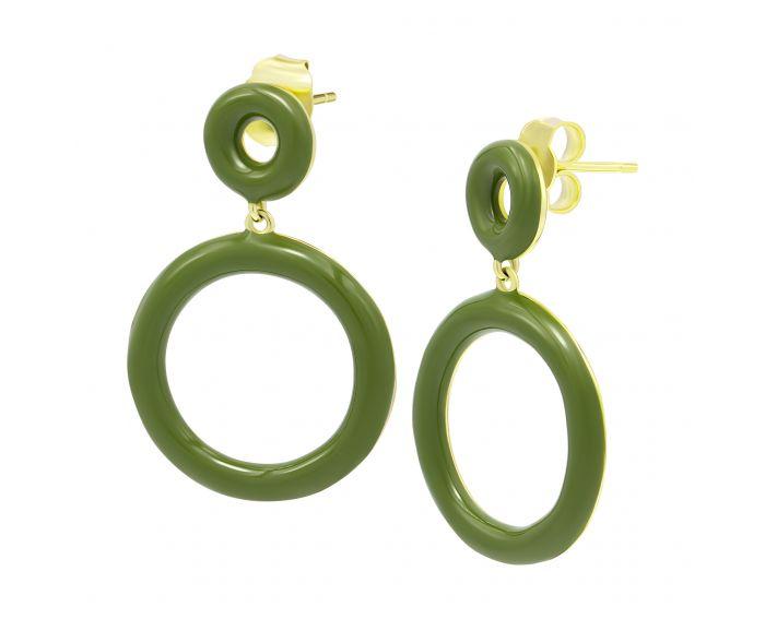 Серьги с эмалью травяного цвета желтый родий