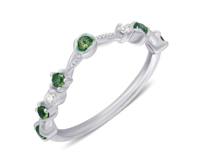 Кольцо Анастейша с зелеными фианитами